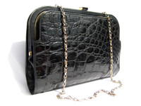 1980's-90's BLACK ALLIGATOR Skin Shoulder Bag Clutch - MENESTRIER - PARIS