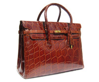 15 x 11 HUGE SCALED Cognac Brown ALLIGATOR Belly Skin BIRKIN Bag - HERMES Style!