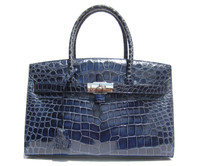 Stunning XL ROYAL BLUE Crocodile Belly Skin KELLY Bag - HERMES Style!