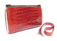 SUAREZ Tomato RED 1990's-2000's Alligator Belly Skin CLUTCH Shoulder Bag - ITALY