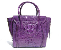 Early 2000's 13 x 10 VIOLET PURPLE Hornback Crocodile Skin Handbag Satchel