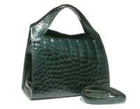 Stunning EMERALD GREEN 1990's-2000's ALLIGATOR Belly Skin Satchel Shoulder Bag