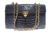Gorgeous ROYAL BLUE Crocodile Belly Skin Shoulder Bag - CHANEL Style!