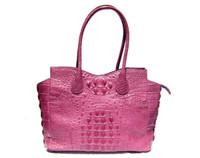 Huge Early 2000's 16 x 11 ROSE PINK Hornback Crocodile Skin Handbag Satchel