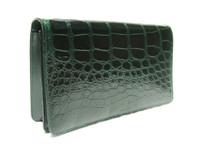 EMERALD GREEN 1990's-2000's Alligator Belly Skin Clutch Shoulder Bag - Saks Fifth Avenue