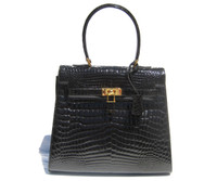 Stunning Jet Black CROCODILE  Belly Skin KELLY Bag w/Strap! - HERMES Style!