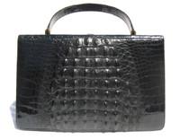 Dramatic JET BLACK 1960's Hornback CROCODILE Handbag