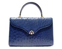 Classic COBALT Blue 1990's OSTRICH Skin Handbag - BALLY - Italy