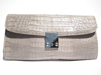 Gorgeous TAUPE Early 2000's Crocodile Belly Skin CLUTCH Bag - JILLY - Silver