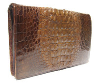 Super Unisex Rich Chocolate Brown 1960's Hornback ALLIGATOR Skin Clutch Folio Bag