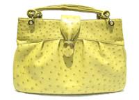 Stunning  XL Chartreuse GREEN OSTRICH Skin Handbag SATCHEL