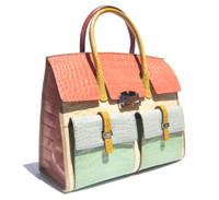 COLOR BLOCK Alligator Belly Skin BIRKIN Bag SATCHEL - HERMES Style - R. Santamaria!