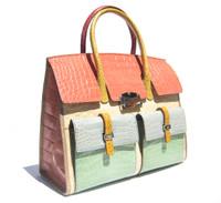COLOR BLOCK Alligator Belly Skin BIRKIN Bag SATCHEL - HERMES Style - R. Santamaria!