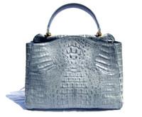 Early 2000's  BLUE Hornback Crocodile Skin Satchel Shoulder Bag