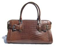 Gorgeous Early 2000's Chocolate Brown CROCODILE Belly Skin Shoulder Bag SATCHEL - Silver Hardware!