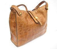 Early 2000's  Matte BUTTERSCOTCH Crocodile Belly Skin Shoulder Bag - Mauro Governa