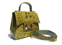 OLIVE GREEN  Early 2000's HORNBACK Crocodile Skin Handbag Cross Body Shoulder Bag