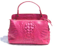 Early 2000's  HOT PINK Hornback Crocodile Skin Satchel Shoulder Bag