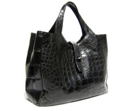 XL Early 2000's JET BLACK Matte ALLIGATOR Belly Skin Handbag Satchel