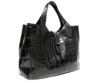 XL Early 2000's JET BLACK Matte ALLIGATOR Belly Skin Handbag Satchel