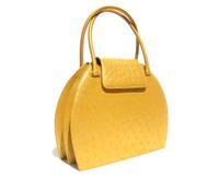 Stunning Mustard GOLD  Ostrich Skin Handbag - Great Design!