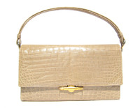 TAN w/hint of GREEN 1950's-60's CROCODILE POROSUS Handbag - HERMES Style - France