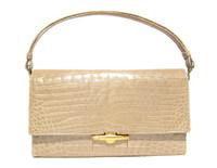 PALE GREEN 1950's-60's CROCODILE POROSUS Handbag - HERMES Style - France