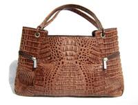 Chocolate Brown Hornback Crocodile Skin Tote Handbag - RIVER