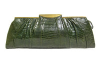 "1940's-50's 16"" Long Art Deco GREEN  Deco Style Lizard Skin Clutch Bag"