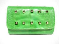 Bright GREEN Studded Early 2000's Lizard Skin CLUTCH Bag!