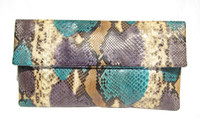 XL Early 2000's Turquoise, Purple & Tan PYTHON Snake Skin CLUTCH Bag