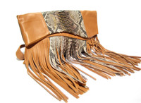 STUNNING Early 2000's Metallic PYTHON Snake Skin & Cognac Leather FRINGED Cross Body Shoulder Bag CLUTCH Bag