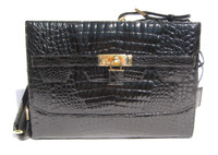 Classic Jet Black CROCODILE  Belly Skin Shoulder Bag w/Removable Strap! - HERMES Style!