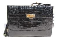Classic Jet Black CROCODILE  Belly Skin Shoulder Bag w/Removable Strap! - HERMES Style!