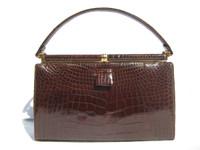 Timeless Chocolate BROWN 1960's LUCILLE de PARIS Alligator Handbag