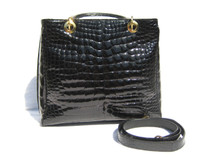 Gorgeous Late 2000's Jet Black ALLIGATOR Belly Skin Handbag or SHOULDER Bag - HELENE