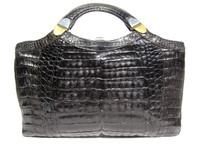"Ample 14"" 1970's-80's Jet Black CROCODILE Skin Handbag Clutch Bag"