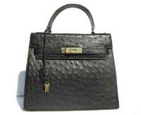 Early 2000's Jet Black BIRKIN Style OSTRICH Skin Handbag