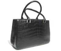 Early 2000's  Matte Jet Black ALLIGATOR Belly Skin Handbag - Silver Hardware!