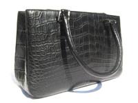 Early 2000's  Matte Jet Black ALLIGATOR Belly Skin Handbag - Silver Hardware!