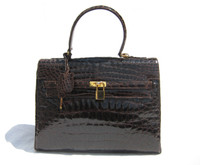Dark Brown CROCODILE Belly Skin BIRKIN Bag SATCHEL Bag - HERMES Style!