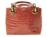 Lovely 1990's COGNAC ALLIGATOR Belly Skin Handbag - HELENE'