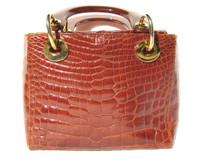 Lovely 1990's COGNAC ALLIGATOR Belly Skin Handbag - HELENE'