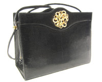 Midnight BLACK MARTIN VAN SCHAAK 1960's-70's Lizard Skin Shoulder Bag
