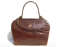 Stunning Early 2000's BALLY Chestnut Brown Alligator Belly Skin Handbag Shoulder Bag