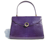 Gorgeous Early 2000's Grape Compote VIOLET CROCODILE Belly Skin Handbag
