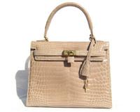 Light TAN Crocodile Belly Skin BIRKIN Bag SATCHEL Bag - HERMES Style - ITALY