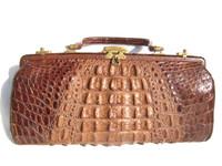 "13"" Long Chocolate Brown Edwardian HORNBACK ALLIGATOR Skin Handbag"