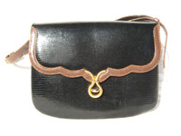 Black & Tan MARTIN VAN SCHAAK 1960's-70's Lizard Skin Shoulder Bag