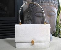 LEDERER DE PARIS 1950's-60's BONE WHITE Crocodile Porosus Skin Handbag - HERMES Style
